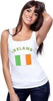 Witte dames tanktop met vlag van Ierland S