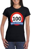 Verkeersbord 100 jaar t-shirt zwart dames S