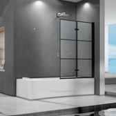 Badwand Elena 2-Delig 100x140cm Antikalk Helder Glas Mat Zwart Profiel 6mm Veiligheidsglas Easy Clean- Rubber Waterkering Strip