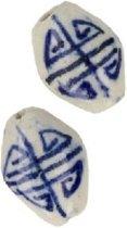 Losse Kraal Delfts Blauw Ovaal (17 mm)
