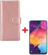 Samsung Galaxy A40 Portemonnee hoesje rose goud met Tempered Glas Screen protector