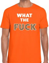 What the Fuck tekst t-shirt oranje heren - heren shirt What the Fuck - oranje kleding 2XL