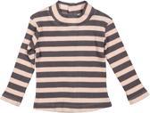Dirkje Meisjes Shirt - Powder pink + dark plum stripe - Maat 68