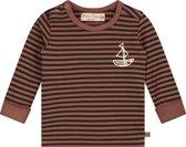 Smitten Organic - Treasure Boat Lange Mouw T-Shirt met stripes- Cinnabar - Maat(122)