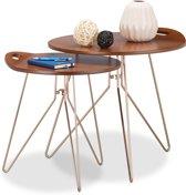 relaxdays - bijzettafel 2 stuks - salontafel - designtafel - retro walnoot look