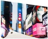 Neon lichten Times Square Tuinposter 200x100 cm - Tuindoek / Buitencanvas / Schilderijen voor buiten (tuin decoratie) XXL / Groot formaat!