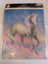 Diamond Painting Crystal Art Kit ® Unicorn dream 21x25 cm incl. houten ezel, partial painting