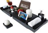 Bathr Luxe Bamboe Badrekje - Badplank Voor In Bad - Badplank Bamboe - Met Boeksteun / Tablethouder En Wijnglashouder - Bad Rek - Verstelbaar - 75 tot 110 cm - Hout - Zwart