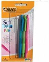 Balpen Bic Soft Feel Fun Clic - blauw, groen, roze - 15 stuks