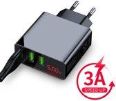 USB oplader - 3 poorten -  3.0 A Smart Fast Charge Lader met LED-display - status van stroom - spanning - ingebouwde smart chip - Geschikt voor Apple  / Samsung /LG / Huawei / Sony etc.