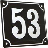 Emaille huisnummer zwart/wit groot nr. 53 18x15cm