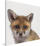 Vosje - Portret dierenprint kinderkamer Canvas 50x50 cm - Foto print op Canvas schilderij (Wanddecoratie woonkamer / slaapkamer)