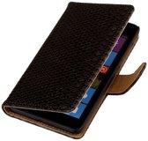 Microsoft Microsoft Lumia 535 Zwart | Snake bookstyle / book case/ wallet case Hoes  | WN™