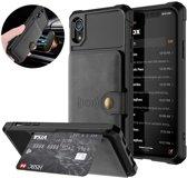 Magnetic Card Holder Hybrid Case Apple iPhone XR - Zwart