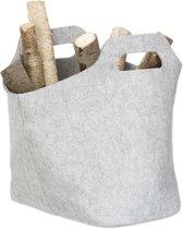relaxdays houtmand vilt - mand voor haardhout - draagtas - viltmand - houttas - vilttas grijs