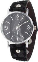 Horloge met bandje Panterprint - Quartz - PU-imitatieleer - Kast 35mm - Zwart - Musthaves
