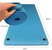 Focus Fitness - Dikke fitnessmat / yoga mat - 180 x 60 cm x 1,5 cm - Blauw