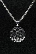 Zilveren Flower of life ketting hanger - middel