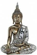 Boeddha beeld brons/zilver 33 cm