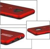 Let op type!! Voor Galaxy S9 backcover berijpte TPU + PC beschermende hoes met Holder(Red)