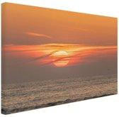 Zonsondergang in de zee Canvas 60x40 cm - Foto print op Canvas schilderij (Wanddecoratie woonkamer / slaapkamer)