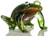 Glassculptuur kikker sprong