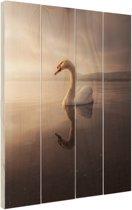 Zwaan zonsondergang Hout 20x30 cm - klein - Foto print op Hout (Wanddecoratie)
