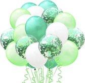 Luxe Ballonnen Groen Wit Confetti - 20 Stuks – ConfettiBallonnen- Helium Ballonnenset - Verjaardag Party Decoratie