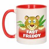 1x Fast Freddy beker / mok - rood met wit - 300 ml keramiek - luipaarden bekers