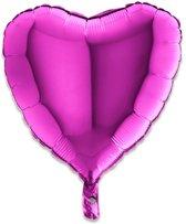 Folieballon hart paars (46cm)