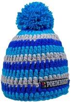 Poederbaas muts One Size - grijs/blauw, muts met pompom, muts met fleece, skimuts voor wintersport, wintersport muts