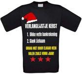 Verlanglijstje kerst  T-shirt maat 110/116 zwart