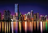 Fotobehang City New York Skyline Night | XXXL - 416cm x 254cm | 130g/m2 Vlies
