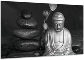 Schilderij | Canvas Schilderij Boeddha, Stenen | Zwart, Wit, Grijs | 120x70cm 1Luik | Foto print op Canvas