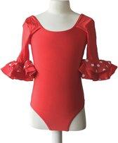 Ballet pakje rood met witte stippen - met 3/4 mouw - maat 10 (128-134)