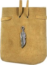 SUEDE POUCH ROUNDED WITH STRAP NATURAL- FEATHER 3.25 x 2.75