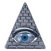 Zilveren Het Oog in piramide ketting hanger