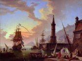 Claude Joseph Vernet : A Seaport (1748) Canvas Print