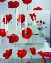 SPIRELLA  decor POPPY - douchegordijn- PVC - 180  x 200 cm - CINABAR