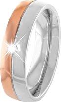 Lucardi - Stalen/rose ring met witte zirkonia