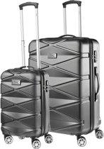 TravelZ Diamond Kofferset - Luxe TSA Trolleyset 2-delig - 76 & 55cm met dubbele wielen - Zwart