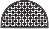 relaxdays deurmat rubber 75x45 halfrond, voetmat, droogloopmat voetveger patroon