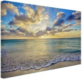 Zonsopkomst boven de zee  Canvas 80x60 cm - Foto print op Canvas schilderij (Wanddecoratie)