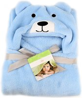 Baby deken | Fleece dekentje met kap | Mantel met capuchon | Badjas | Cape | Kraamcadeau voor jongens en meisjes | 92x86 cm | Blauw  beertje