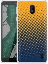 Nokia 1 Plus Hoesje geel blauwe cirkels
