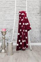 HnL Living Stars - Plaid - Flannel Fleece - 150 x 200 cm - Rood