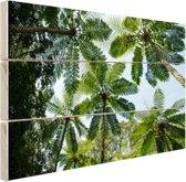 Bomen en bladeren in jungle Hout 30x20 cm - klein - Foto print op Hout (Wanddecoratie)