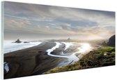 Strand panoramafoto Nieuw-Zeeland Glas 30x20 cm - Foto print op Glas (Plexiglas wanddecoratie)