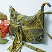 Geel tas met Slangenprint/Echt Leren Schoudertas okergeel tas  Fenice /DAMES  TAS