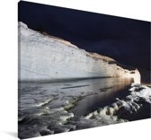 Het Turkse Pamukkale in de nacht Canvas 180x120 cm - Foto print op Canvas schilderij (Wanddecoratie woonkamer / slaapkamer) XXL / Groot formaat!